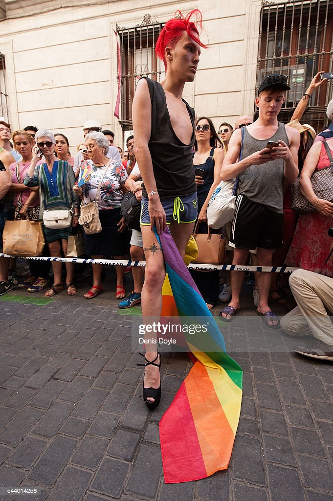 A contestant lines-up before running down Pelayo street during the Men's High Heels race as part of the 2016 Madrid Gay Pride week on June 30, 2016 in Madrid, Spain. Hundreds of thousands of revellers celebrate the Gay Pride week in Madrid, one of the biggest in Europe.