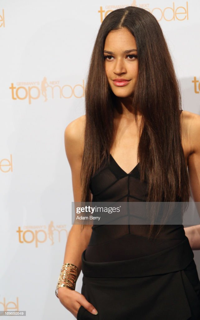 Contestant Lovelyn Enebechi poses at a photo call for the reality television show and modeling competition Germany's Next Topmodel at the Waldorf Astoria hotel on May 27, 2013 in Berlin, Germany. The show is currently in its eighth cycle and Klum is the lead judge and executive producer of the show.