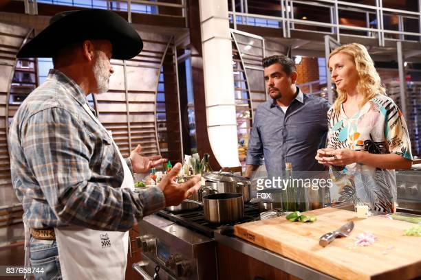 Contestant Newton with judges Aaron Sanchez and Christina Tosi in the allnew ShellShocked Scrambled episode of MASTERCHEF airing Wednesday June 28 on...