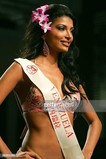 Contestant of the 55th Miss World 2005 Berliz Susan Carrizo Escandela of Venezuela competes during the Beachwear Final at the Sheraton Sanya Resort...