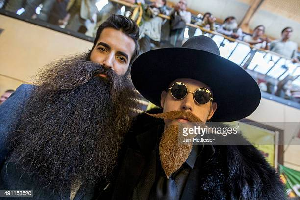 Contestant of the World Beard And Mustache Championships pose for a picture during the Championships 2015 on October 3 2015 in Leogang Austria Over...