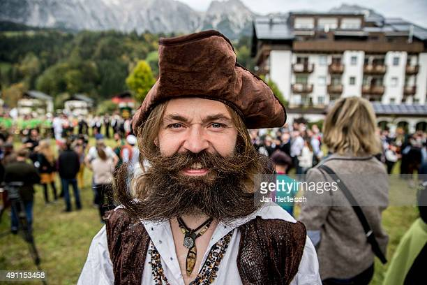 A contestant of the World Beard And Mustache Championships poses for a picture during the opening ceremony of the Championchips 2015 on October 3...
