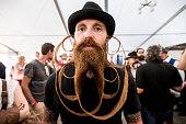 A contestant of the World Beard And Mustache Championships poses for a picture during the Championships 2015 on October 3 2015 in Leogang Austria...