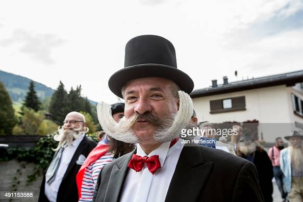 A contestant of the World Beard And Mustache Championships poses for a picture during the opening ceremony of the Championships 2015 on October 3...