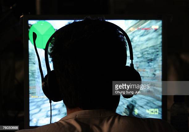 A contestant plays a computer game during the 'EStars Seoul 2007' game festival hosted by the Seoul Metropolitan Government at Seoul Olympic Park on...