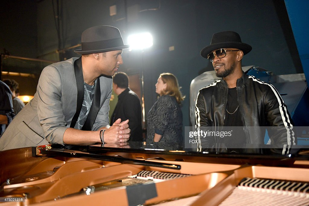 Contestant Rayvon Owen and Jamie Foxx backstage at FOX's 'American Idol XIV' Finale on May 13, 2015 at the Dolby Theater in Hollywood, California.