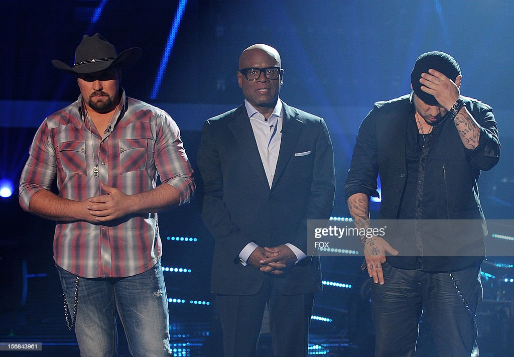 Contestant Tate Stevens, judge L.A. Reid and contestant Vino Alan onstage at FOX's 'The X Factor' Season 2 Top 10 to 8 Live Elimination Show on November 22, 2012 in Hollywood, California.
