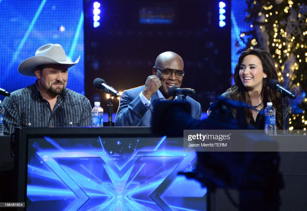 Contestant Tate Stevens, X Factor Judges L.A. Reid and Demi Lovato attend Fox's 'The X Factor' season finale news conference at CBS Television City on December 17, 2012 in Los Angeles, California.