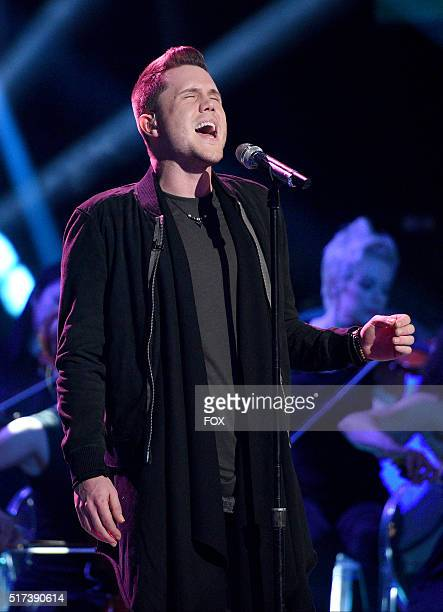 Contestant Trent Harmon performs onstage at FOX's American Idol Season 15 on March 24 2016 in Hollywood California