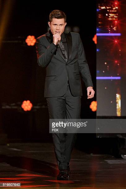 Contestant Trent Harmon performs onstage at FOX's American Idol Season 15 on April 6 2016 at the Dolby Theatre in Hollywood California