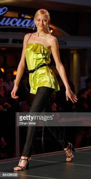 A contestant walks the runway for a fashion show during a taping of the television show 'Germany's Next Topmodel' at the Fashion Show mall January 24...