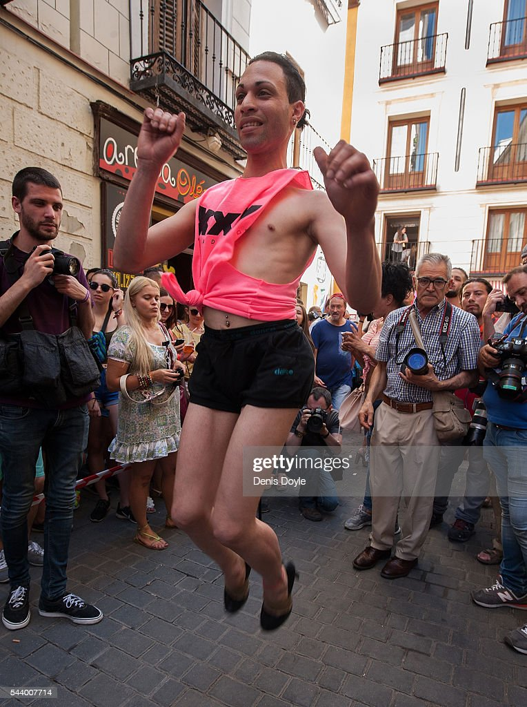 A contestant warms-up before running down Pelayo street during the Men's High Heels race as part of the 2016 Madrid Gay Pride week on June 30, 2016 in Madrid, Spain. Hundreds of thousands of revellers celebrate the Gay Pride week in Madrid, one of the biggest in Europe.