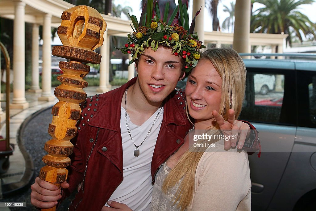 Contestant winner Joey Heindle poses with his girlfriend Jacqueline Heinrichs as they arrive at the Versace hotel after spending two weeks in the Australian Outback on January 27, 2013 in Gold Coast, Australia. The German celebrities are participants in the 2013- RTL-TV-Show 'Dschungelcamp' - Ich bin ein Star - Holt mich hier raus!.
