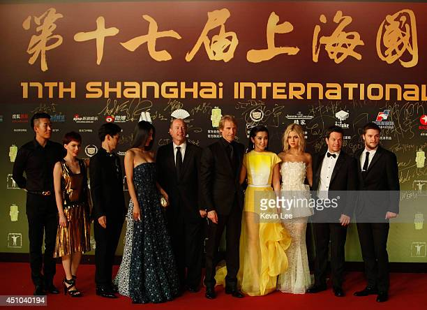 Contestant Winners with Vice Chairman Rob Moore Director Michael Bay Li Bingbing Nicola Peltzat Mark Wahlberg and Jack Reynor poses for a picture at...