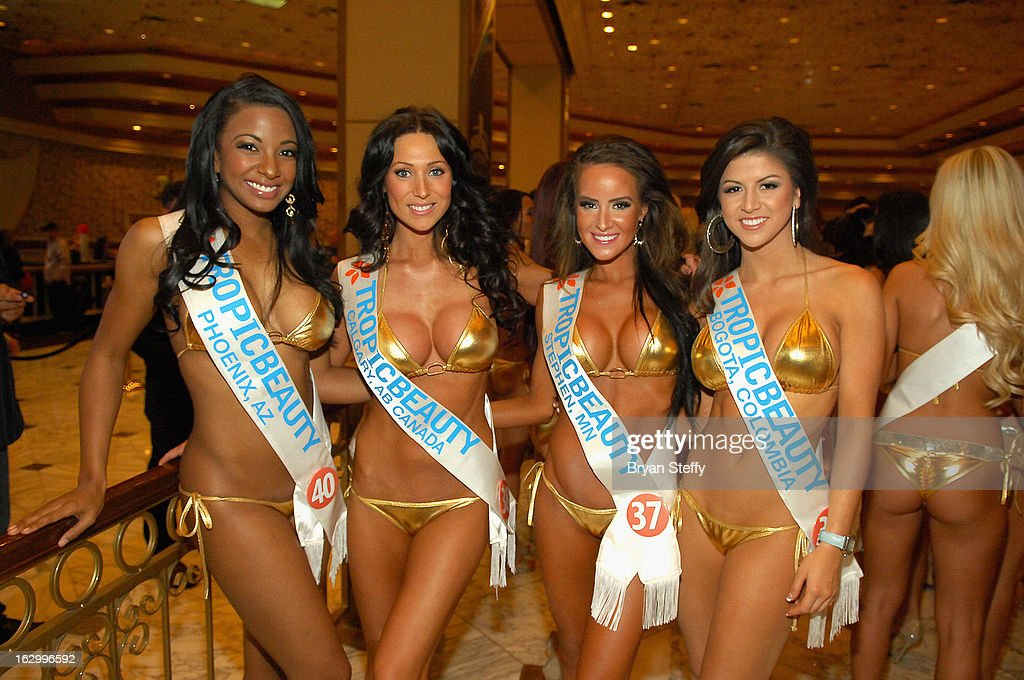 Contestants, Allona Brewer of Arizona, Theresa Crame of Canada, Allie Kuznia of Minnestota and Nathalia Londono of Colombia appear at the third annual TropicBeauty World Finals at the MGM Grand Hotel/Casino on March 2, 2013 in Las Vegas, Nevada.