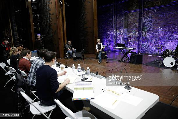 Contestants and the panel of judges attend 'School Of Rock The Musical' open auditions at Winter Garden Theatre on February 26 2016 in New York City