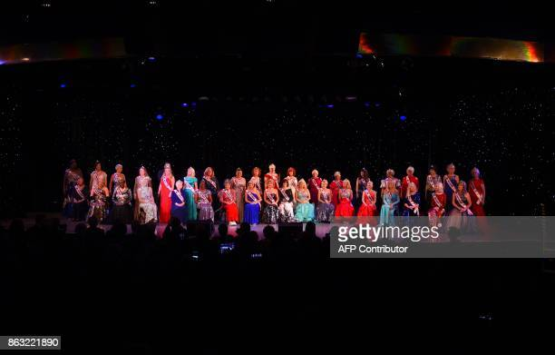 Contestants are introuduced on stage during the finals of the 38th Annual National Ms Senior America 2017 Pageant at the Resorts Casino Hotel in...
