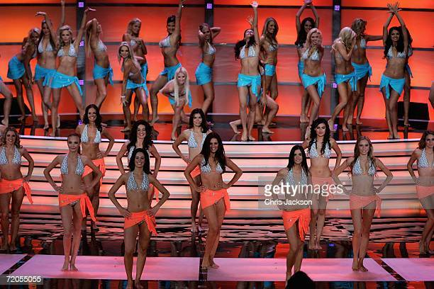 Contestants are seen during the opening Beachwear round of Miss World 2006 at Warsaw's Palace of Culture on September 30 2006 in Wasaw Poland This...