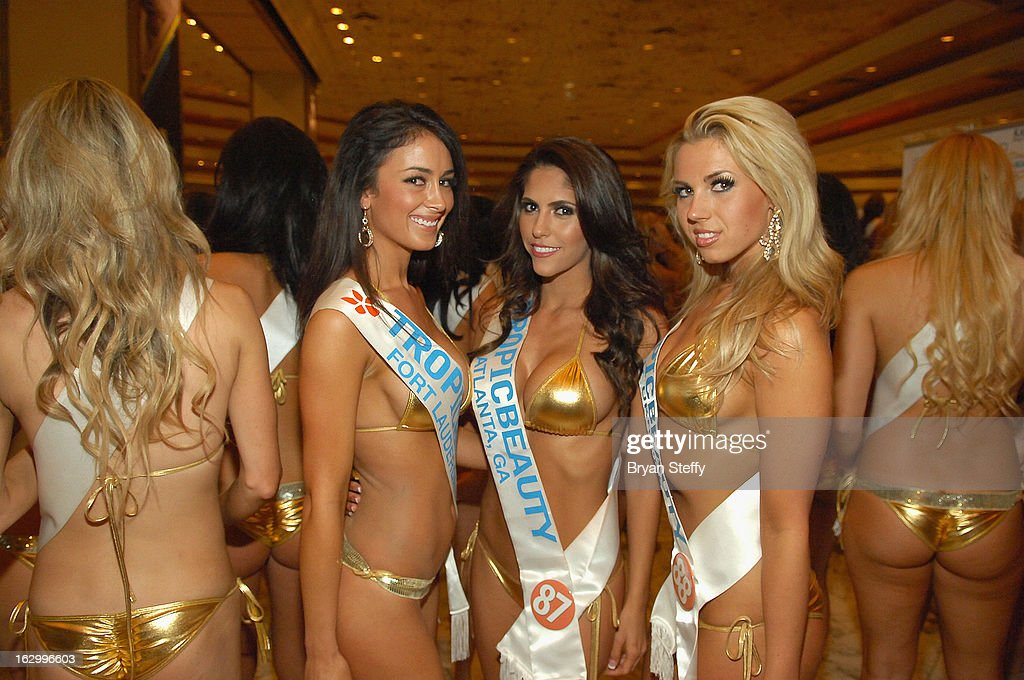 Contestants, Ashley Held of Florida, Larissa Santos of Georgia and Masha Meyta of Ukraine appear at the third annual TropicBeauty World Finals at the MGM Grand Hotel/Casino on March 2, 2013 in Las Vegas, Nevada.