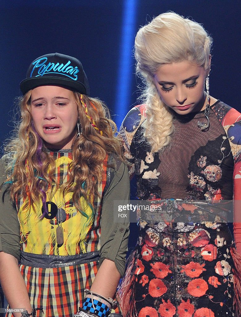 Contestants Beatrice Miller and Cece Frey onstage at FOX's 'The X Factor' Season 2 Top 10 to 8 Live Elimination Show on November 22, 2012 in Hollywood, California.