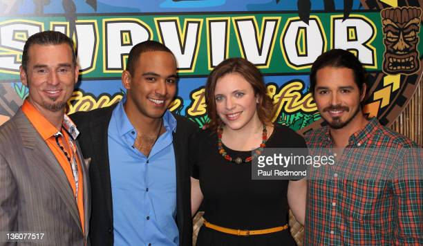Contestants Benjamin 'Coach' Wade Albert Destrade Sophie Clarke and Ozzy Lusth attends 'Survivor South Pacific' Finale And Reunion at CBS Television...