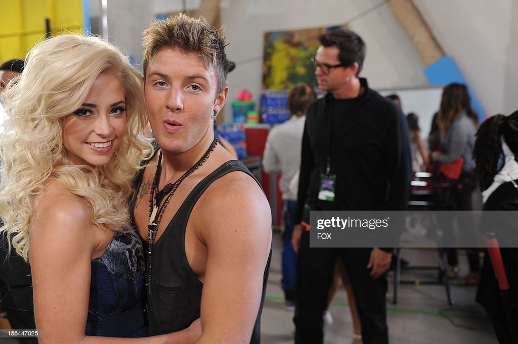 Contestants CeCe Frey and Emblem3 backstage at FOX's 'The X Factor' Season 2 Top 11 Live Performance Show on November 14 2012 in Hollywood California