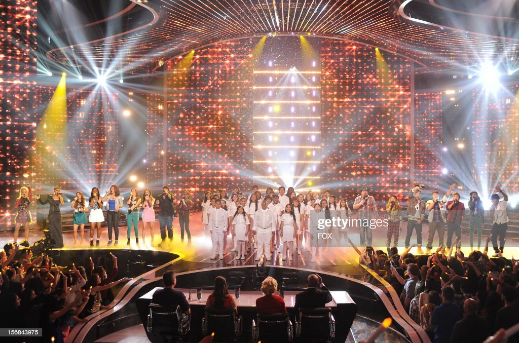 Contestants CeCe Frey, Paige Thomas, Fifth Harmony, Vino Alan, Carly Rose Sonenclar, The Bancroft Middle School Choir, Tate Stevens, Beatrice Miller, Emblem3, Diamond White and Arin Ray with hosts Khloe? Kardashian Odom, and Mario Lopez onstage at FOX's 'The X Factor' Season 2 Top 10 to 8 Live Elimination Show on November 22, 2012 in Hollywood, California.