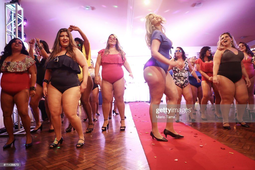 Contestants compete during the Miss Plus Size Carioca beauty pageant on July 8, 2017 in Rio de Janeiro, Brazil. 24 contestants, aged 18-45, competed in the contest which aims to challenge modern inclusive standards of beauty.