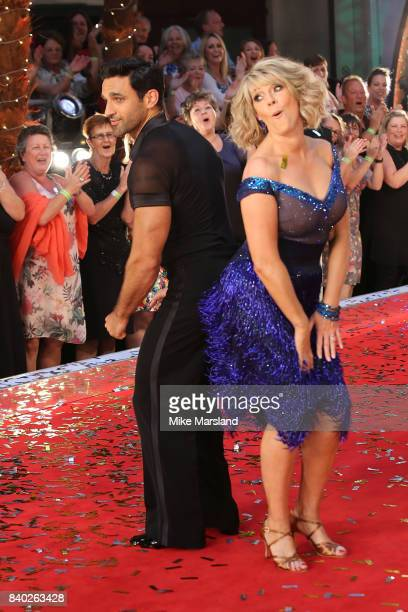 Contestants Davood Ghadami and Ruth Langsford attend the 'Strictly Come Dancing 2017' red carpet launch at The Piazza on August 28 2017 in London...