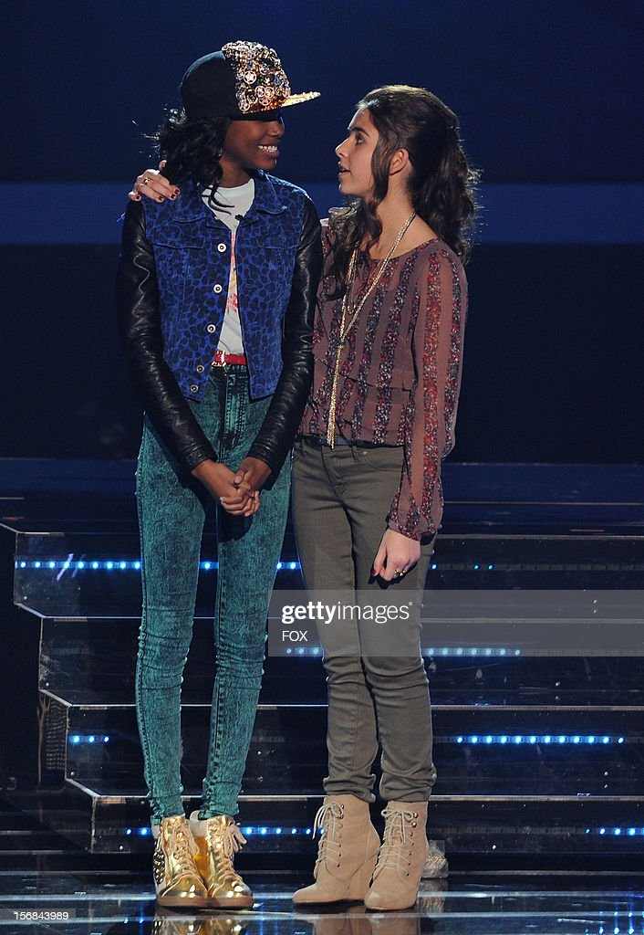Contestants Diamond White and Carly Rose Sonenclar onstage at FOX's 'The X Factor' Season 2 Top 10 to 8 Live Elimination Show on November 22, 2012 in Hollywood, California.