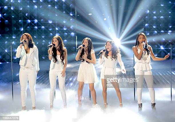 Contestants Fifth Harmony perform onstage at FOX's 'The X Factor' Season 2 Top 11 Live Performance Show on November 14 2012 in Hollywood California