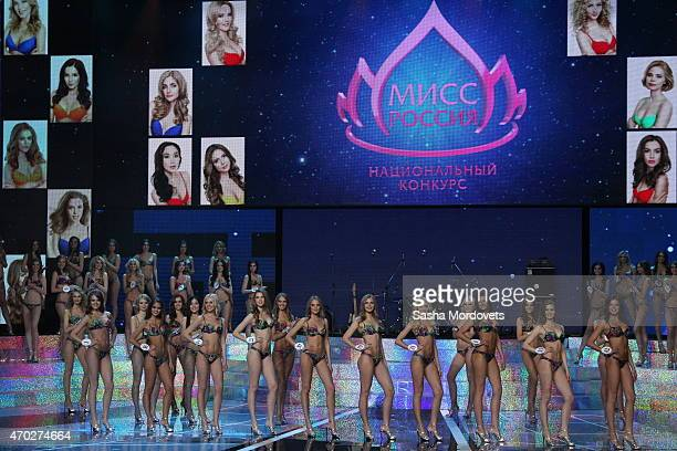 Contestants from 50 regions pose on stage during the Miss Russia 2015 beauty pageant at Barvikha Luxury Village Concert Hall on April 18 2015 in...