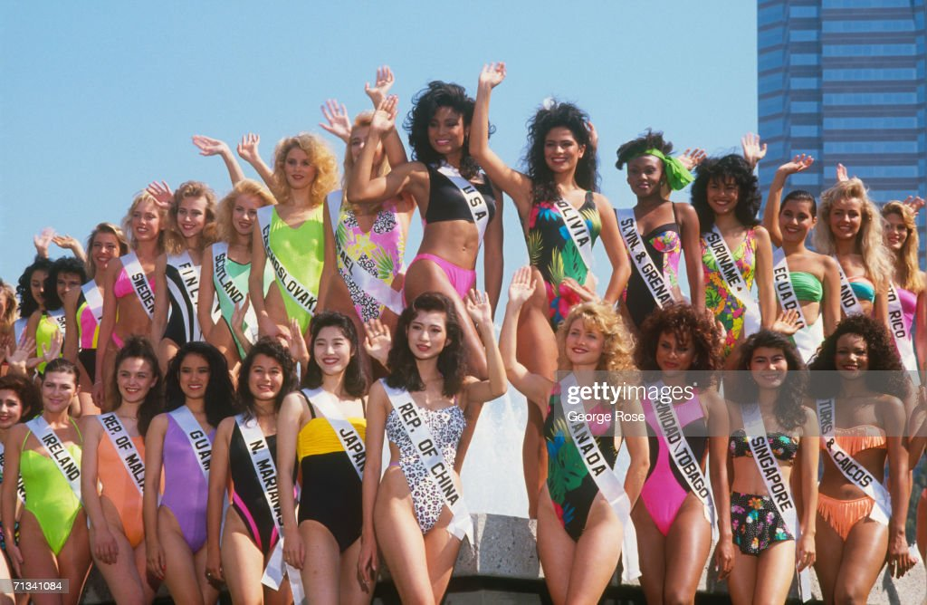 Contestants from around the world pose for a group photo at the 1990 Miss Universe Pageant held in Century City, California.