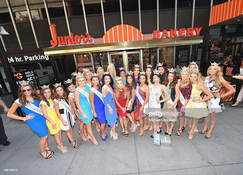 Contestants from the 2016 Miss America Competition pose outside Junior's restaurant as Miss America takes over New York City on the road to the 95th...