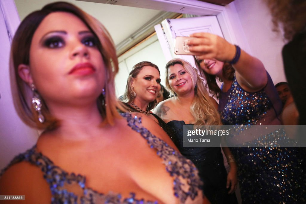 Contestants gather during the Miss Plus Size Carioca beauty pageant on July 8, 2017 in Rio de Janeiro, Brazil. 24 contestants, aged 18-45, competed in the contest which aims to challenge modern inclusive standards of beauty.