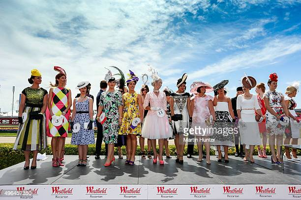 Contestants in the Best Dressed Lady pose during the New Zealand Trotting Cup at Addington Raceway on November 10 2015 in Christchurch New Zealand