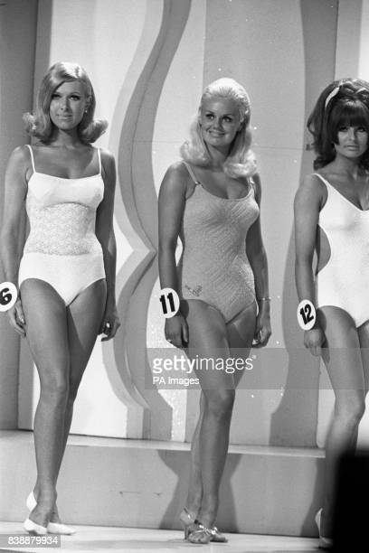 Contestants in the Miss United Kingdom 1968 competition No6 Miss Bradford South Lisa Robertshaw No11 Miss Cardiff Judith Radford and No12 Miss...
