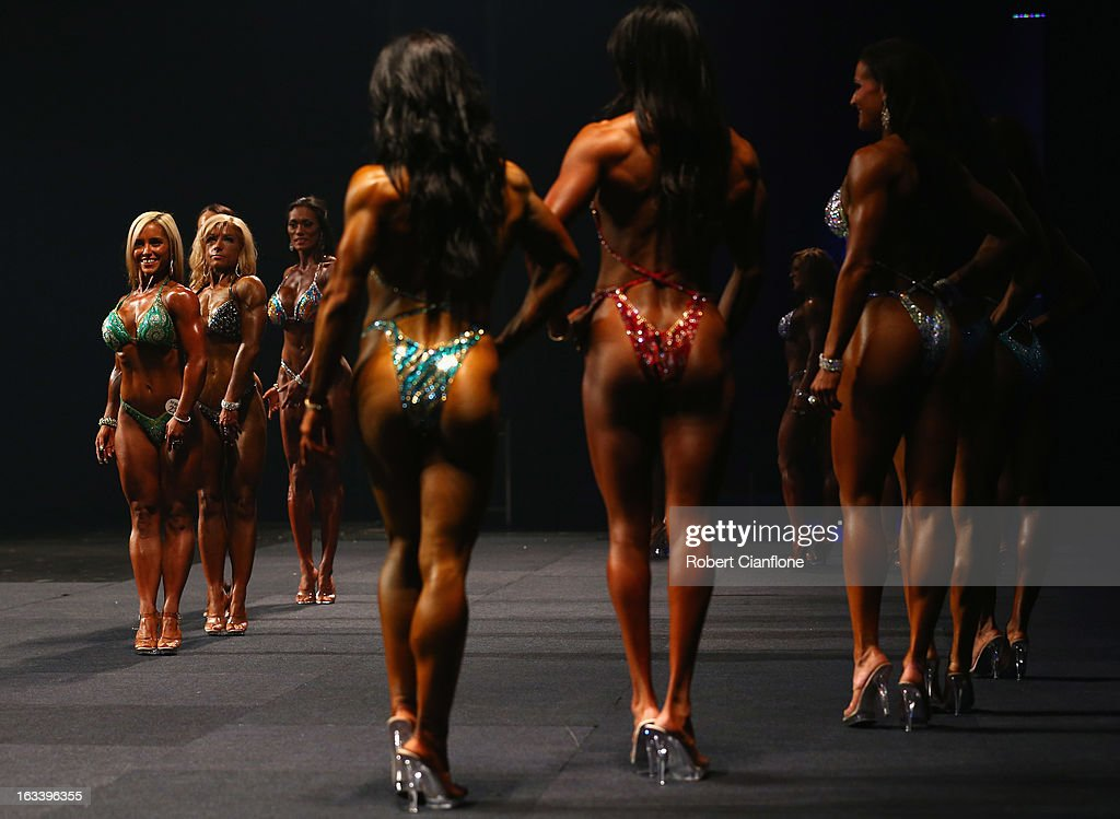Contestants in the Women's Pro Figure section pose during the IFBB Australia Pro Grand Prix XIII at The Plenary on March 9, 2013 in Melbourne, Australia.