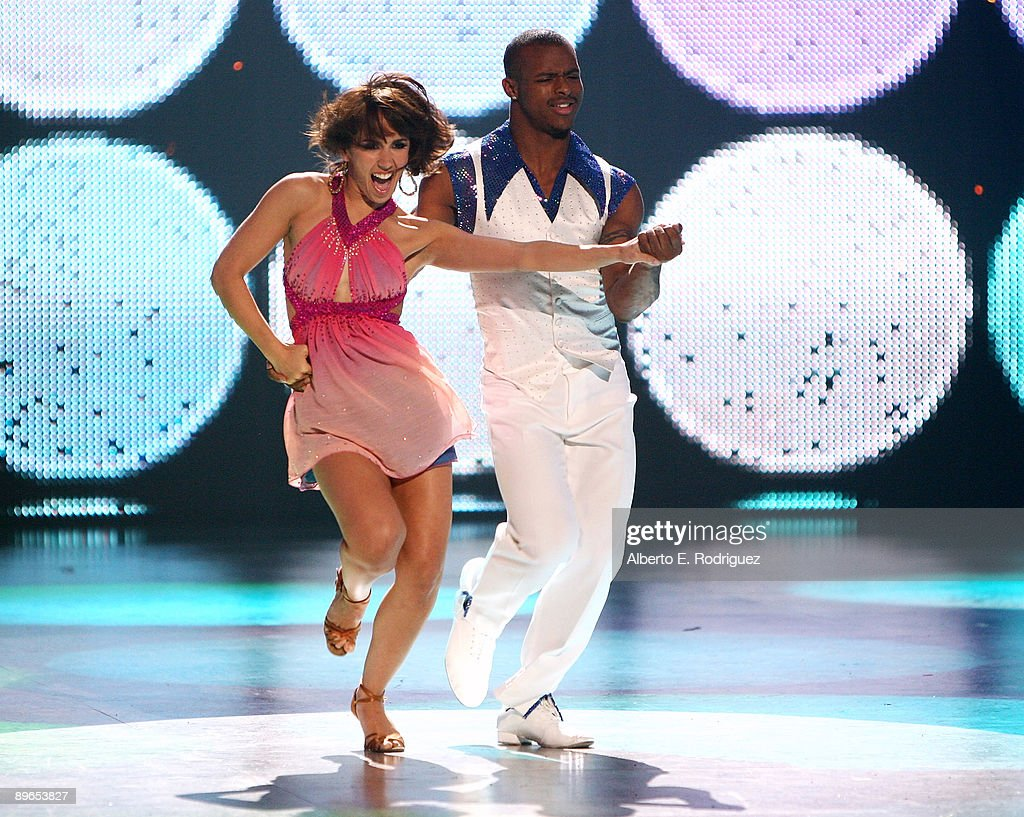 Contestants Janette Manrara and Brandon Bryant perform at the 'So You Think You Can Dance' finale held at the Kodak Theater on August 6 2009 in...