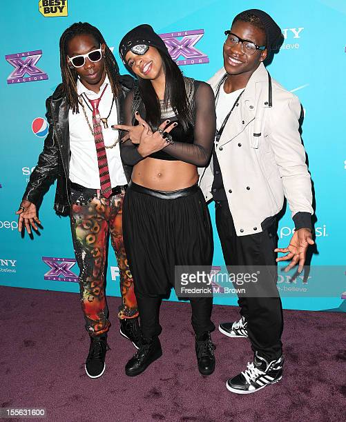 Contestants Jemelle Joseph Julien Joseph and Lyric Da Queen attend Fox's 'The XFactor' Finalists Party at The Bazaar at the SLS Hotel Beverly Hills...