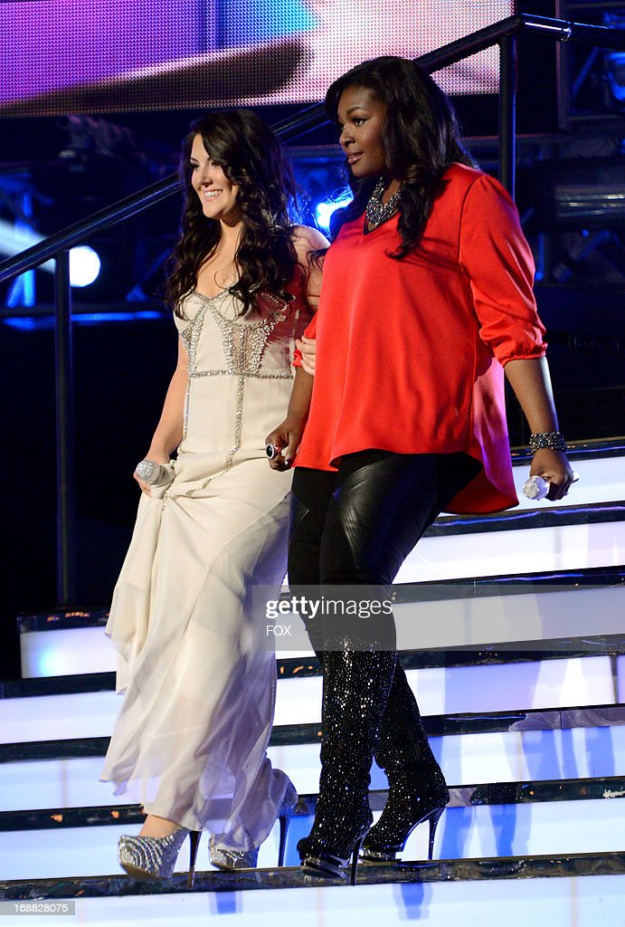 Contestants Kree Harrison and Candice Glover (R) onstage at FOX's 'American Idol' Season 12 Top 2 Live Performance Show at Nokia Theatre L.A. Live on May 15, 2013 in Los Angeles, California.