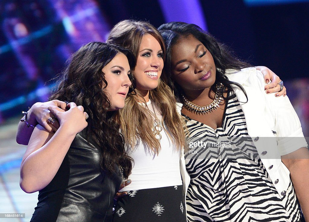 Contestants Kree Harrison, Angie Miller and Candice Glover onstage at FOX's 'American Idol' Season 12 Top 3 to 2 Live Elimination Show on May 9, 2013 in Hollywood, California.