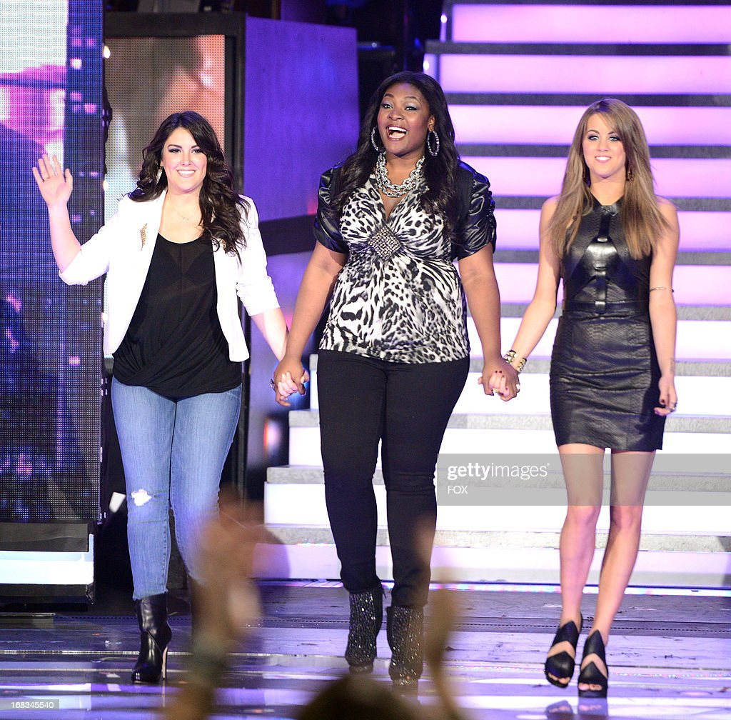 Contestants Kree Harrison (L), Candice Glover (C) and Angie Miller onstage at FOX's 'American Idol' Season 12 Top 3 Live Performance Show on May 8, 2013 in Hollywood, California.