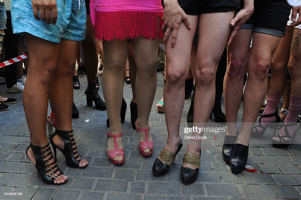 Contestants line up before running down Pelayo street during the Men's High Heels race as part of the 2016 Madrid Gay Pride week on June 30, 2016 in Madrid, Spain. Hundreds of thousands of revellers celebrate the Gay Pride week in Madrid, one of the biggest in Europe.