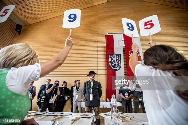Contestants line up for judging in the 'Mustache Naturale' category at the 2015 World Beard And Mustache Championships on October 3 2015 in Leogang...
