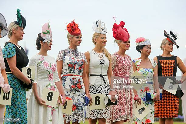 Contestants line up in the Best Dressed Women during Christchurch Casino New Zealand Cup Day at Riccarton Park Racecourse on November 14 2015 in...