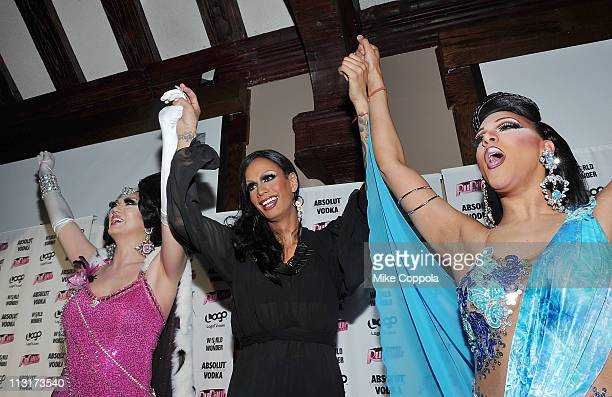 Contestants Manila Luzon Raja and Alexis Mateo attend Logo's 'RuPaul's Drag Race' New York City season finale party at Providence on April 25 2011 in...