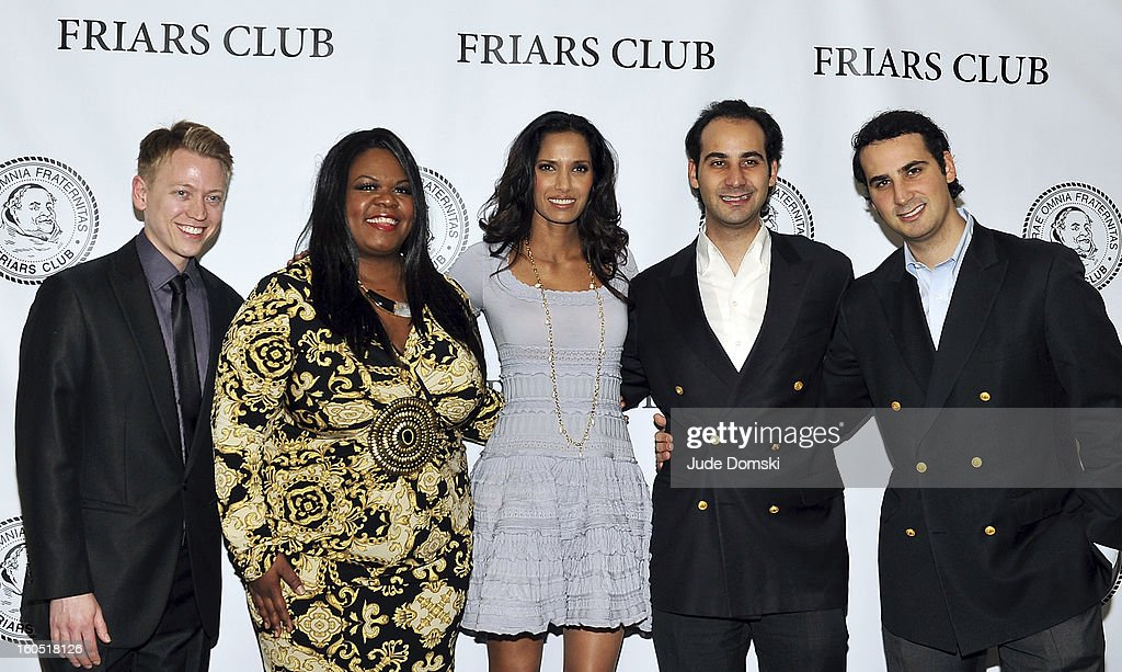 Contestants Nick Stevens, Yamanieka Saunders, host <a gi-track='captionPersonalityLinkClicked' href=/galleries/search?phrase=Padma+Lakshmi&family=editorial&specificpeople=201593 ng-click='$event.stopPropagation()'>Padma Lakshmi</a>, conestants Todd Stone and Adam Stone at The Friars Club Presents: Do You Think You Can Roast?! <a gi-track='captionPersonalityLinkClicked' href=/galleries/search?phrase=Padma+Lakshmi&family=editorial&specificpeople=201593 ng-click='$event.stopPropagation()'>Padma Lakshmi</a> at New York Friars Club on February 1, 2013 in New York City.