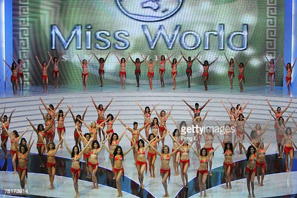 Contestants of Miss World perform at dress rehearsal of the 57th Miss World final contest on November 30 2007 in Sanya of Hainan province China