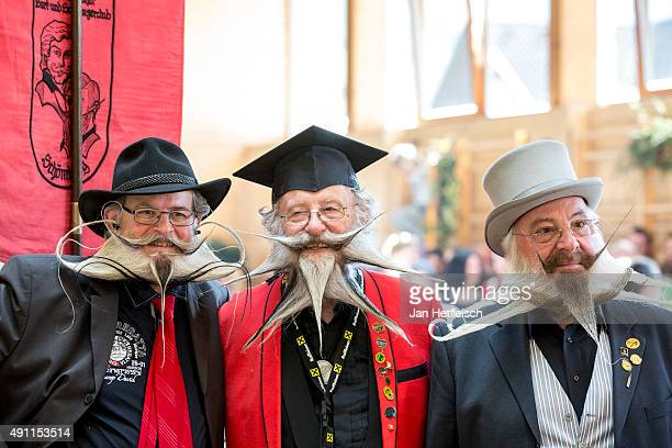Contestants of the World Beard And Mustache Championships pose for a picture during the Championships 2015 on October 3 2015 in Leogang Austria Over...